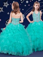 Charming Floor Length Turquoise Pageant Gowns For Girls Halter Top Sleeveless Zipper