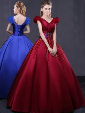 Inexpensive Floor Length Wine Red Quinceanera Gowns Satin Cap Sleeves Appliques