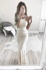Mermaid White Prom with Lace Halter Top Sleeveless Zipper