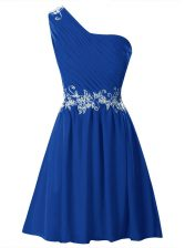 Adorable One Shoulder Royal Blue Sleeveless Appliques and Ruffles Mini Length Prom Gown