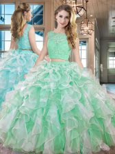 Affordable Apple Green Sleeveless Floor Length Lace and Ruffles Lace Up Quinceanera Dress