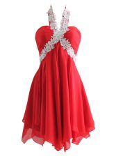 Fantastic Knee Length Zipper Red for Prom and Party with Appliques