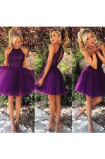 Captivating Purple Backless High-neck Beading and Ruching Prom Gown Organza Sleeveless