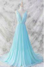 Modest Baby Blue Dress for Prom V-neck Sleeveless Brush Train Backless