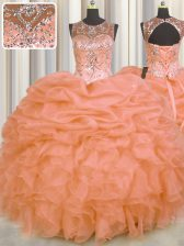 Glittering See Through Orange Lace Up Scoop Beading and Ruffles and Pick Ups Sweet 16 Quinceanera Dress Organza Sleeveless