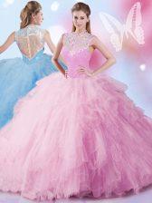 Stunning Sequins High-neck Sleeveless Zipper 15 Quinceanera Dress Baby Pink Tulle