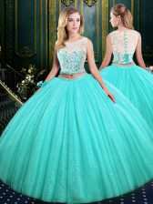 Scoop Tulle and Sequined Sleeveless Floor Length 15th Birthday Dress and Lace and Sequins