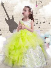 Simple Yellow Green Little Girls Pageant Dress Party and Wedding Party with Beading and Ruffles Scoop Sleeveless Lace Up