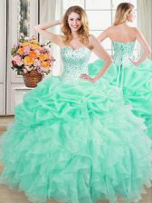 Sexy Pick Ups Sweetheart Sleeveless Lace Up Quinceanera Gowns Apple Green Organza