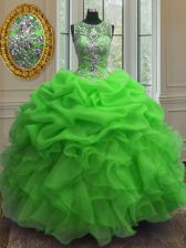 High Quality Scoop Green Ball Gowns Beading and Ruffles and Pick Ups 15 Quinceanera Dress Lace Up Organza Sleeveless Floor Length