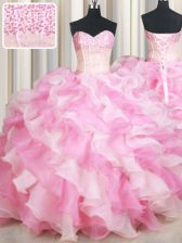 Affordable Pink And White Ball Gowns Beading and Ruffles Vestidos de Quinceanera Lace Up Organza Sleeveless Floor Length