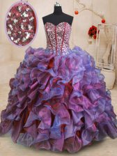 Stylish Beading and Ruffles 15 Quinceanera Dress Multi-color Lace Up Sleeveless Floor Length