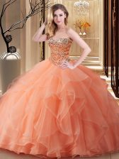 Orange Lace Up Quince Ball Gowns Beading Sleeveless Floor Length