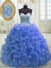 Sweetheart Sleeveless Quinceanera Gown Sweep Train Beading and Ruffles Blue Organza