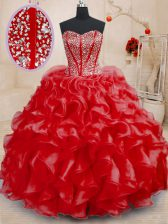 Red Organza Lace Up Sweetheart Sleeveless Floor Length Sweet 16 Dresses Beading and Ruffles