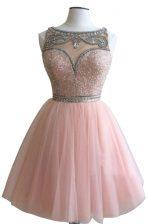 Super Pink Side Zipper Evening Dress Beading Sleeveless Mini Length