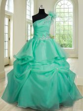 Flare Ball Gowns Ball Gown Prom Dress Turquoise One Shoulder Organza Sleeveless Floor Length Lace Up