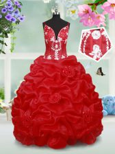 Beading and Pick Ups and Hand Made Flower Little Girls Pageant Dress Wholesale Red Lace Up Sleeveless Floor Length