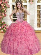 Designer Watermelon Red Ball Gowns Sweetheart Sleeveless Organza Floor Length Lace Up Beading and Ruffles Vestidos de Quinceanera