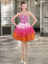 Discount Multi-color Organza Lace Up Sweetheart Sleeveless Mini Length Prom Dresses Beading and Ruffles