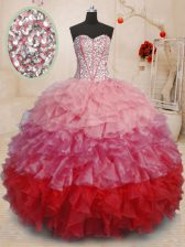 Deluxe Sleeveless Beading and Ruffles Lace Up 15 Quinceanera Dress