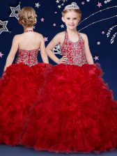 Admirable Organza Halter Top Sleeveless Zipper Beading and Ruffles Kids Formal Wear in Wine Red