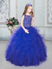 Scoop Royal Blue Sleeveless Tulle Lace Up Child Pageant Dress for Quinceanera and Wedding Party