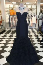 Smart Mermaid Scoop Sleeveless Elastic Woven Satin Prom Gown Beading Sweep Train Side Zipper
