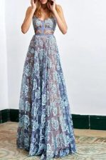 Blue Lace Backless Prom Evening Gown Sleeveless Floor Length Lace
