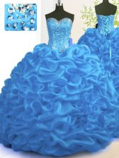With Train Lace Up Quinceanera Gown Blue for Military Ball and Sweet 16 and Quinceanera with Beading and Ruffles Brush Train