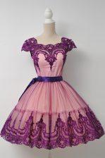 Purple Tulle Zipper Homecoming Dress Cap Sleeves Mini Length Belt