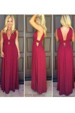 Sumptuous Burgundy Column/Sheath Elastic Woven Satin V-neck Sleeveless Ruching Floor Length Side Zipper Prom Gown