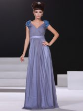 Short Sleeves Floor Length Beading and Ruching Zipper Prom Evening Gown with Lavender
