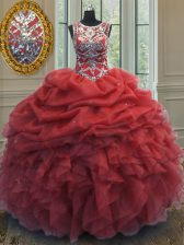 Scoop Sleeveless Floor Length Beading and Ruffles and Pick Ups Lace Up Quinceanera Gowns with Coral Red