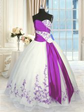 Clearance White And Purple Sweetheart Lace Up Embroidery and Sashes ribbons 15th Birthday Dress Sleeveless