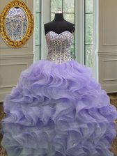 Beading and Ruffles Quince Ball Gowns Lavender Lace Up Sleeveless Floor Length