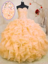 Extravagant Sweetheart Sleeveless Lace Up Quinceanera Dresses Orange Organza