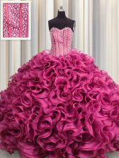 Custom Design Visible Boning Hot Pink Organza Lace Up Sweetheart Sleeveless Floor Length Quinceanera Dress Beading and Ruffles