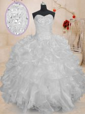 Sweet White Sleeveless Organza Lace Up Quinceanera Gowns for Military Ball and Sweet 16 and Quinceanera