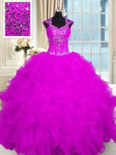 High End Fuchsia Ball Gowns Beading and Ruffles Quinceanera Dress Lace Up Organza Cap Sleeves Floor Length