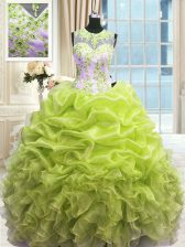 Latest Yellow Green Sweet 16 Dress Military Ball and Sweet 16 and Quinceanera with Beading and Ruffles Scoop Sleeveless Zipper