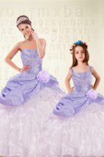 Custom Fit Floor Length Lace Up Quince Ball Gowns Lavender for Military Ball and Sweet 16 and Quinceanera with Beading and Ruffled Layers and Hand Made Flower