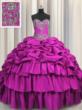 Exquisite Brush Train Sweetheart Sleeveless Sweet 16 Dress Floor Length Beading and Embroidery and Ruffled Layers and Pick Ups Fuchsia Taffeta