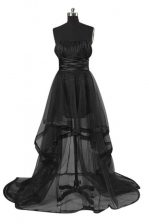 Romantic Sleeveless Zipper High Low Sashes ribbons Dress for Prom