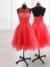 Sumptuous Sleeveless Knee Length Sequins Lace Up Dress for Prom with Watermelon Red