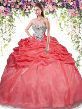 New Style Red Lace Up Quince Ball Gowns Beading and Pick Ups Sleeveless Floor Length