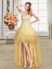 Fitting Gold Lace Up Prom Dresses Beading and Sequins Sleeveless High Low