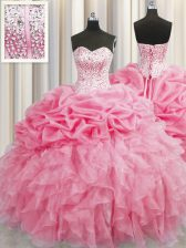 Visible Boning Sweetheart Sleeveless Organza Quince Ball Gowns Beading and Ruffles Lace Up