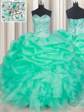 Sleeveless Floor Length Beading and Ruffles and Pick Ups Lace Up Sweet 16 Dresses with Apple Green