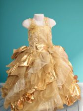 Dynamic Straps Sequins Floor Length Ball Gowns Sleeveless Gold Flower Girl Dresses for Less Lace Up